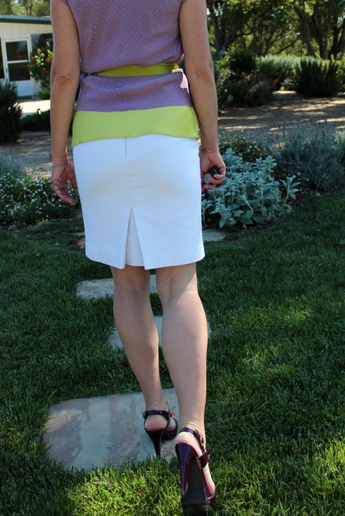 white pencil skirt, purple heels