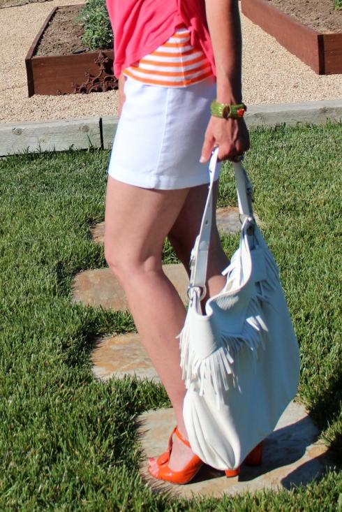 white fringe handbag