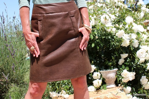 Hand sewn leather skirt