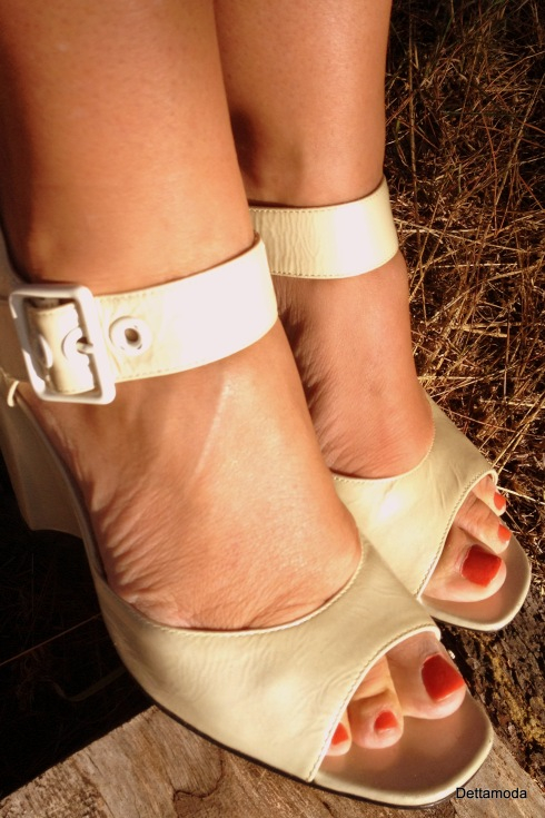 cream wedge heel