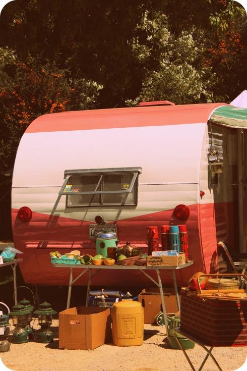 pink vintage trailer